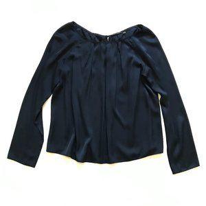 Elie Tahari Silk Blouse Top Shirt Medium Navy Blue